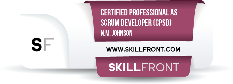 SkillFront Certified Professional As Scrum Developer™ (CPSD™) Certification Shareable and Verifiable Digital Badge