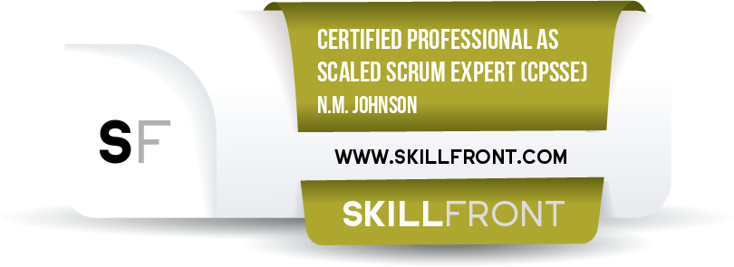 SkillFront Certified Professional As Scaled Scrum Expert™ (CPSSE™) Certification Shareable and Verifiable Digital Badge