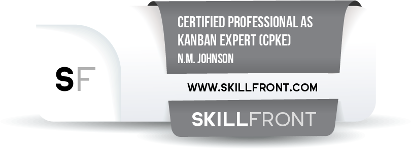 SkillFront Certified Professional As Kanban Expert™ (CPKE™) Certification Shareable and Verifiable Digital Badge