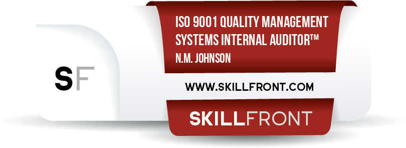 SkillFront ISO 9001 Quality Management Systems Internal Auditor™ Certification Shareable and Verifiable Digital Badge