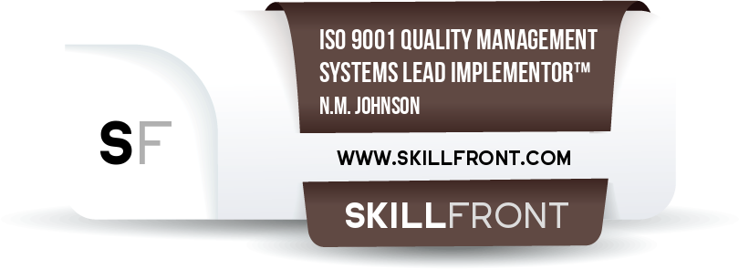 SkillFront ISO 9001 Quality Management Systems Lead Implementor™ Certification Shareable and Verifiable Digital Badge
