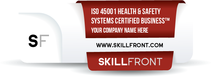 SkillFront ISO 45001:2018 Occupational Health And Safety Management Systems Certified Business™ Certification Shareable and Verifiable Digital Badge