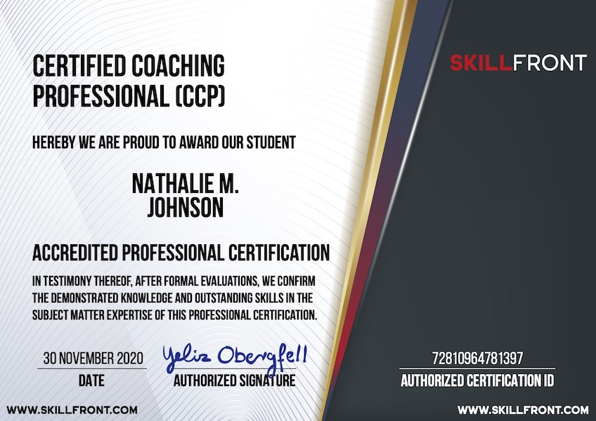 SkillFront Certified Coaching Professional™ (CCP™) Certification Document