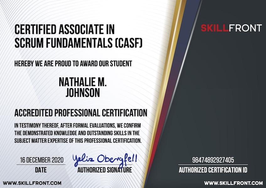 Certified Associate In Scrum Fundamentals™ (CASF™) Certification