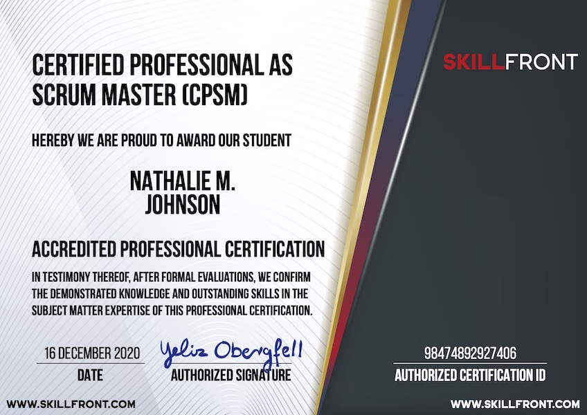SkillFront Certified Professional As Scrum Master™ (CPSM™) Certification Document