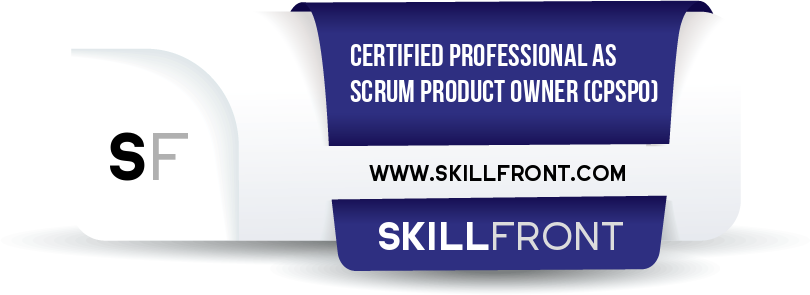SkillFront Certified Professional As Scrum Product Owner™ (CPSPO™) Certification Shareable and Verifiable Digital Badge