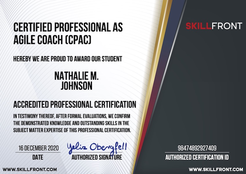 SkillFront Certified Professional As Agile Coach™ (CPAC™) Certification Document
