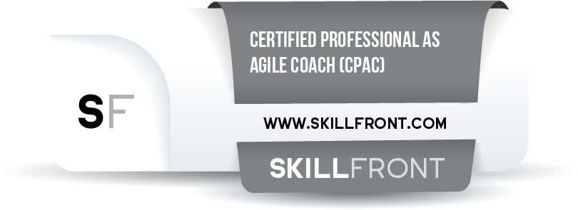 SkillFront Certified Professional As Agile Coach™ (CPAC™) Certification Shareable and Verifiable Digital Badge
