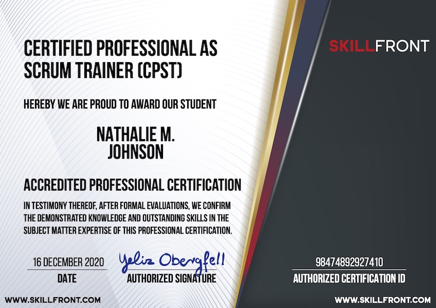 SkillFront Certified Professional As Scrum Trainer™ (CPST™) Certification Document