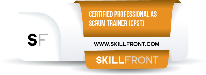 SkillFront Certified Professional As Scrum Trainer™ (CPST™) Certification Shareable and Verifiable Digital Badge