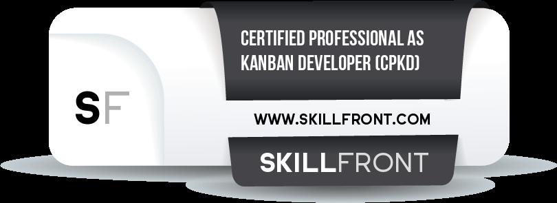 SkillFront Certified Professional As Kanban Developer™ (CPKD™) Certification Shareable and Verifiable Digital Badge