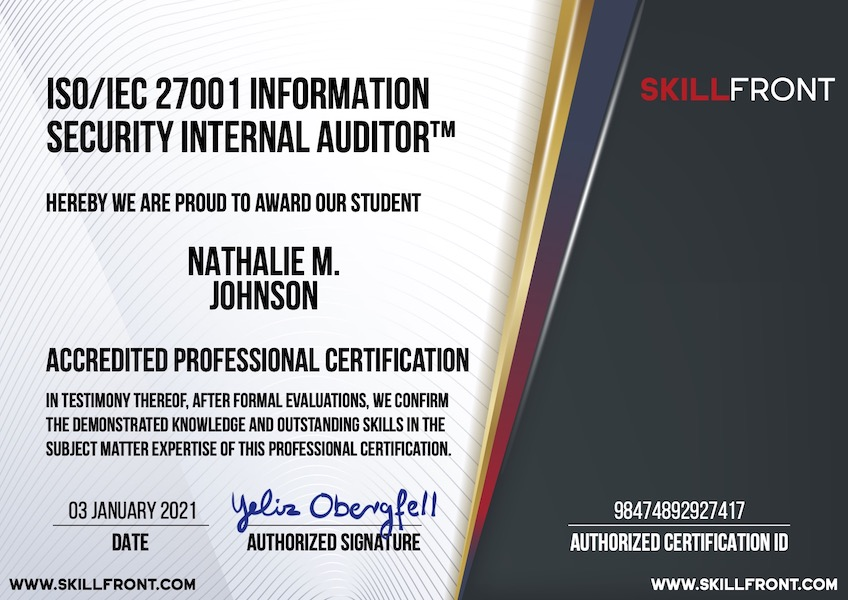 SkillFront ISO/IEC 27001 Information Security Internal Auditor™ Certification Document