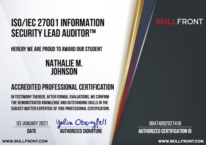 SkillFront ISO/IEC 27001 Information Security Lead Auditor™ Certification Document