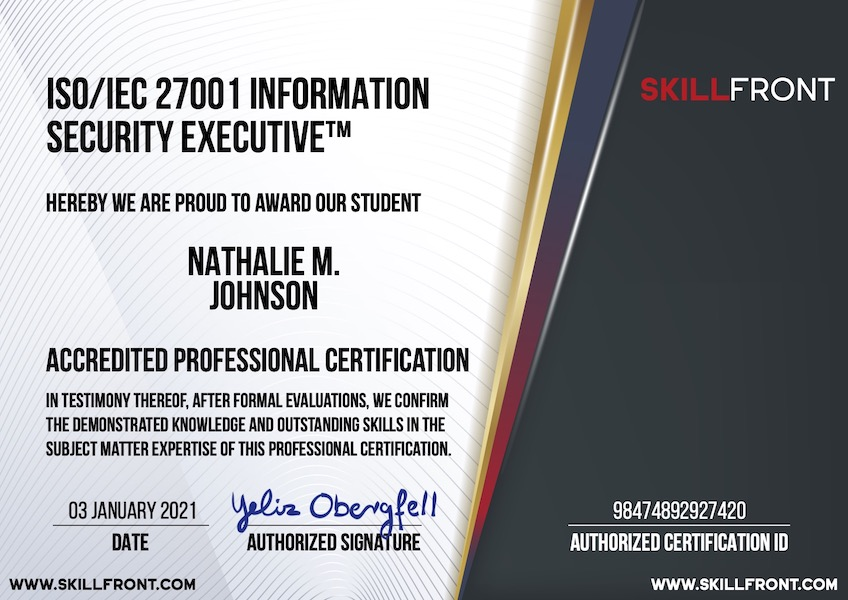 SkillFront ISO/IEC 27001 Information Security Executive™ Certification Document
