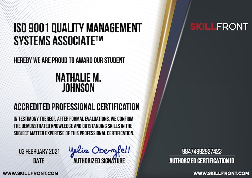 SkillFront ISO 9001 Quality Management Systems Associate™ Certification Document