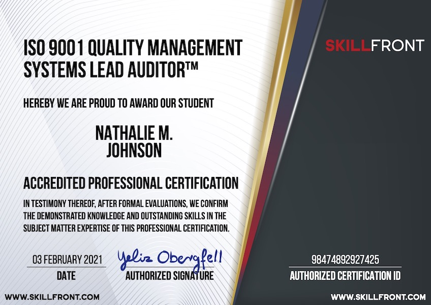 SkillFront ISO 9001 Quality Management Systems Lead Auditor™ Certification Document