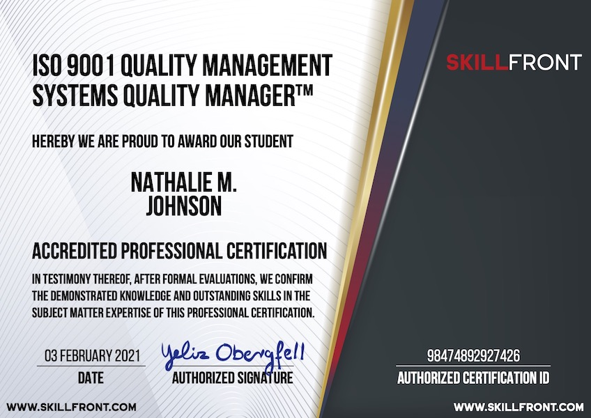SkillFront ISO 9001 Quality Management Systems Quality Manager™ Certification Document