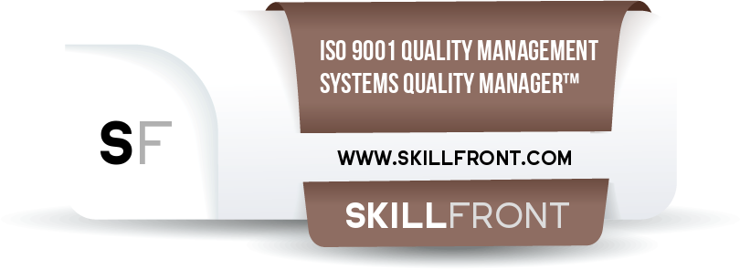 SkillFront ISO 9001 Quality Management Systems Quality Manager™ Certification Shareable and Verifiable Digital Badge