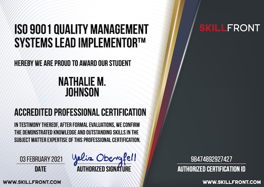 SkillFront ISO 9001 Quality Management Systems Lead Implementor™ Certification Document