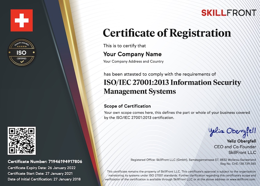 SkillFront ISO/IEC 27001:2013 Information Security Management Systems Certified Business™ Certification Document