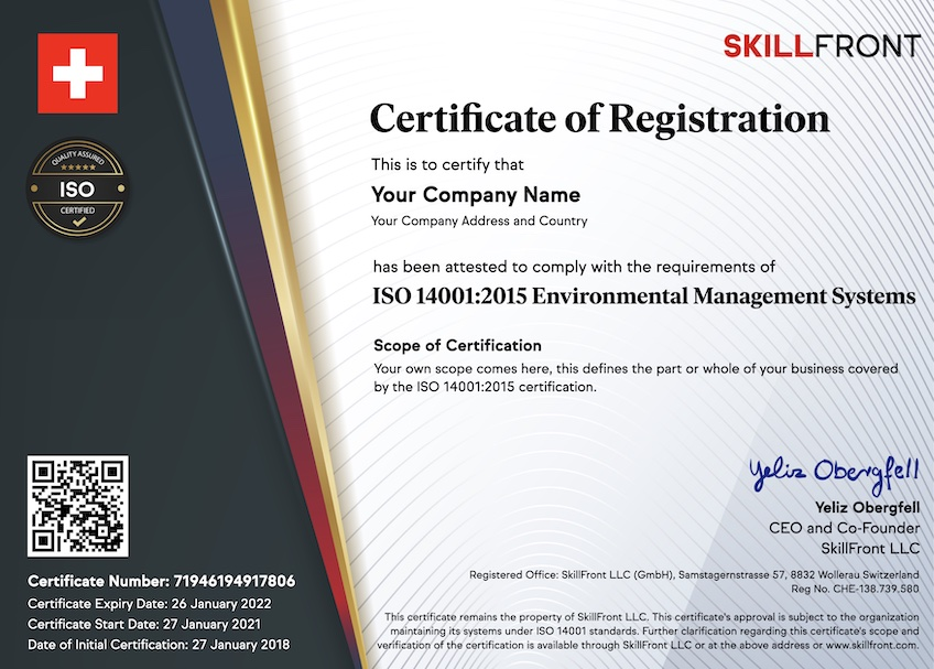 SkillFront ISO 14001:2015 Environmental Management Systems Certified Business™ Certification Document