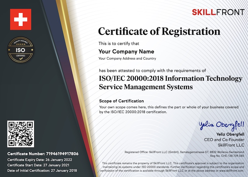 SkillFront ISO/IEC 20000:2018 Information Technology Service Management Systems Certified Business™ Certification Document