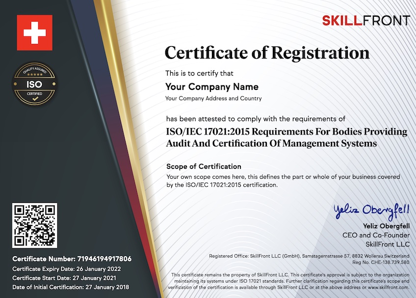 SkillFront ISO/IEC 17021:2015 Certified Business For Bodies Providing Audit And Certification Of Management Systems™ Certification Document
