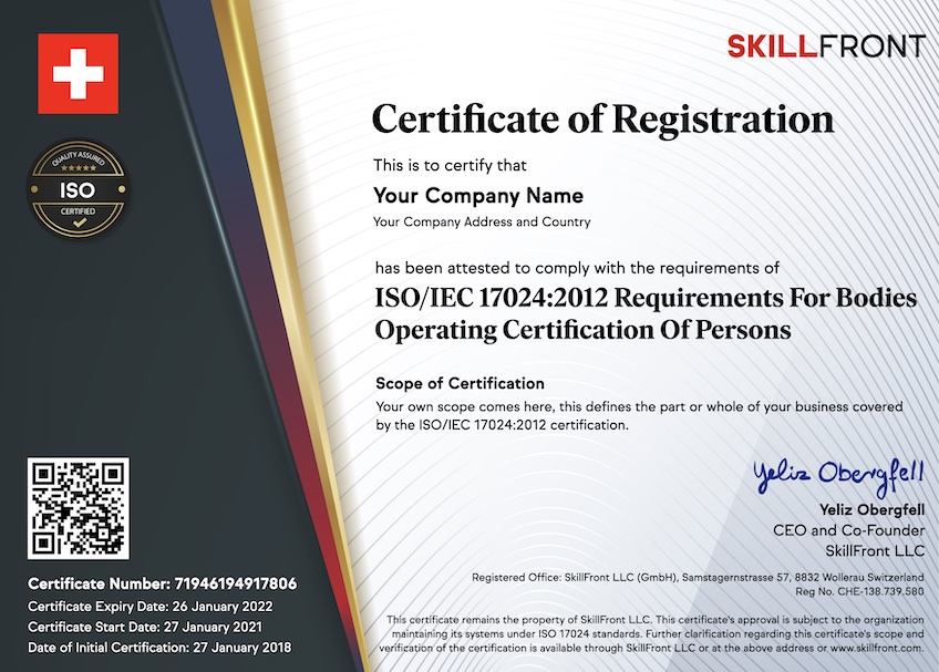 SkillFront ISO/IEC 17024:2012 Certified Business For Bodies Operating Certification Of Persons™ Certification Document