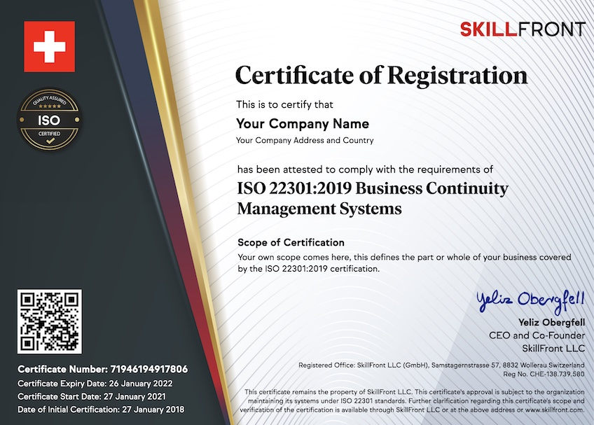 SkillFront ISO 22301:2019 Business Continuity Management Systems Certified Business™ Certification Document