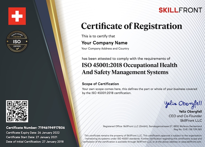 SkillFront ISO 45001:2018 Occupational Health And Safety Management Systems Certified Business™ Certification Document