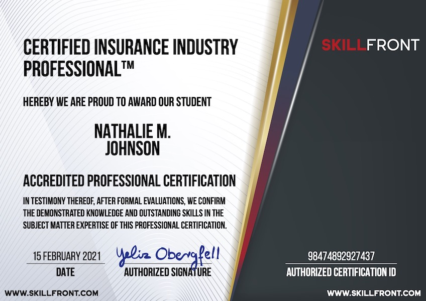 SkillFront Certified Insurance Industry Professional™ (CIIP-I™) Certification Document