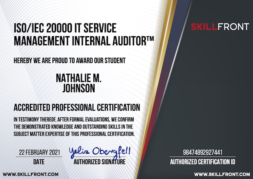 SkillFront ISO/IEC 20000 IT Service Management Internal Auditor™ Certification Document