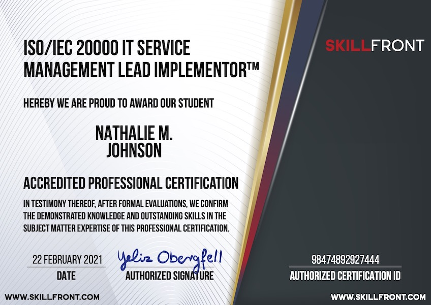 SkillFront ISO/IEC 20000 IT Service Management Lead Implementor™ Certification Document