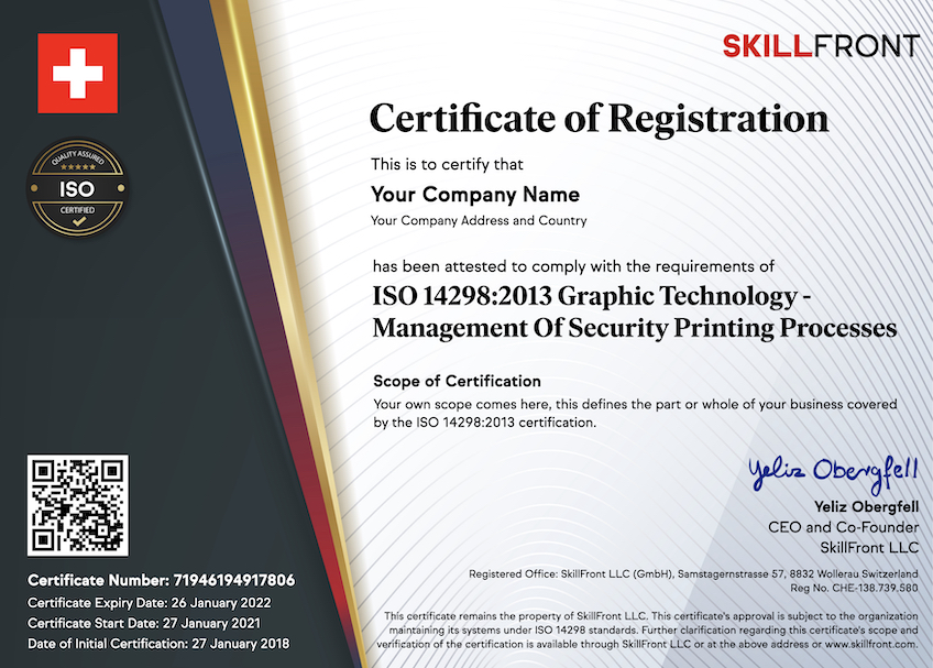 SkillFront ISO 14298:2013 Graphic Technology - Management Of Security Printing Processes Certified Business™ Certification Document
