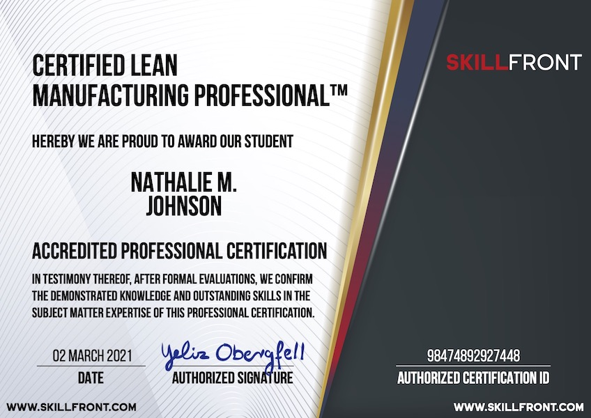 SkillFront Certified Lean Manufacturing Professional™ (CLP-Manufacturing™) Certification Document