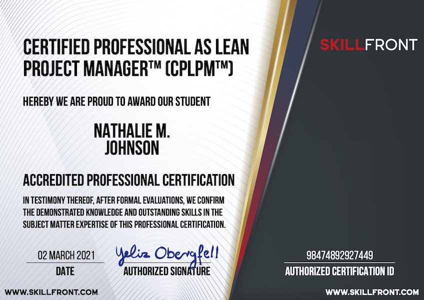 SkillFront Certified Professional As Lean Project Manager™ (CPLPM™) Certification Document