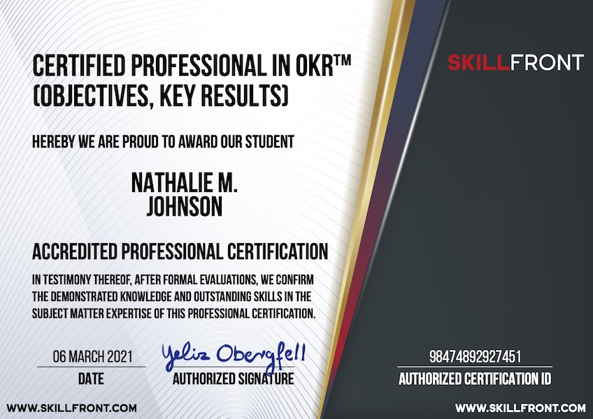 SkillFront Certified Professional In OKR™ (Objectives & Key Results) (CPOKR™) Certification Document