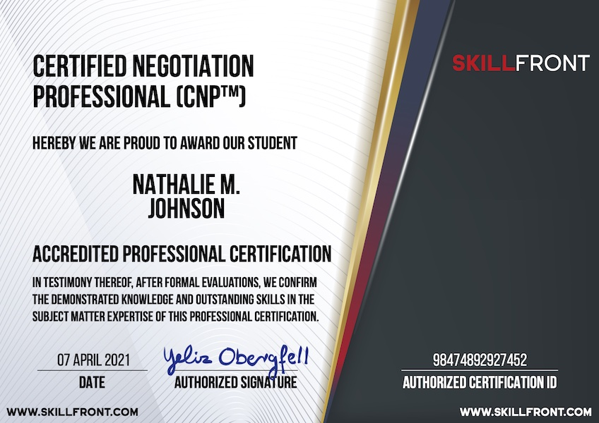 SkillFront Certified Negotiation Professional (CNP™) Certification Document
