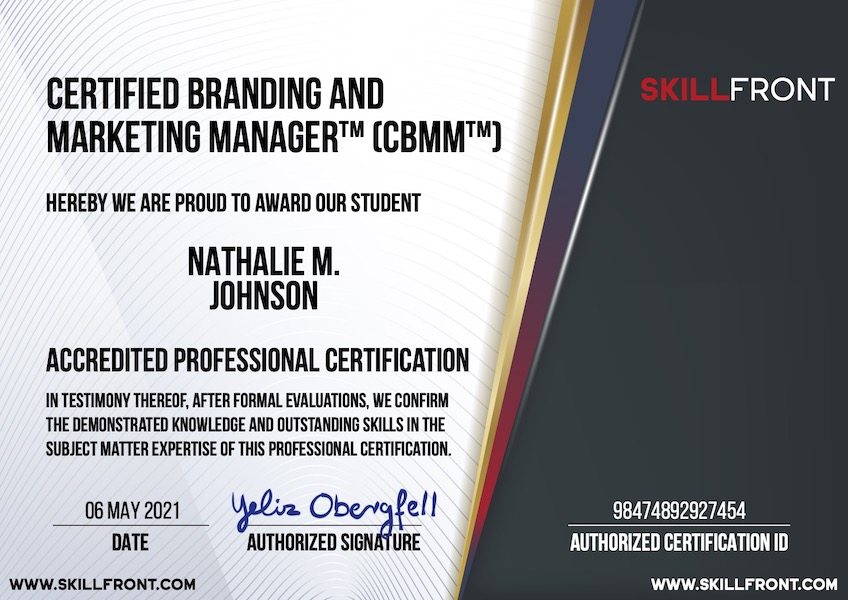 SkillFront Certified Branding And Marketing Manager™ (CBMM™) Certification Document