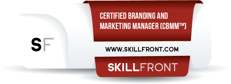 SkillFront Certified Branding And Marketing Manager™ (CBMM™) Certification Shareable and Verifiable Digital Badge