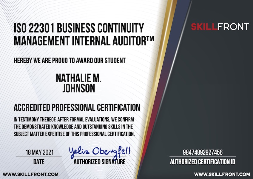 SkillFront ISO 22301 Business Continuity Management Systems Internal Auditor™ Certification Document