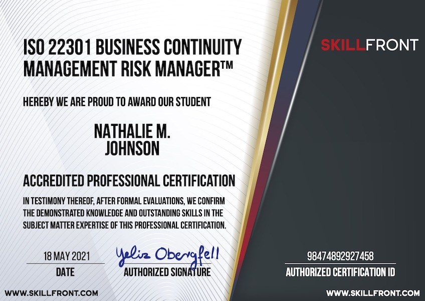 SkillFront ISO 22301 Business Continuity Management Systems Risk Manager™ Certification Document