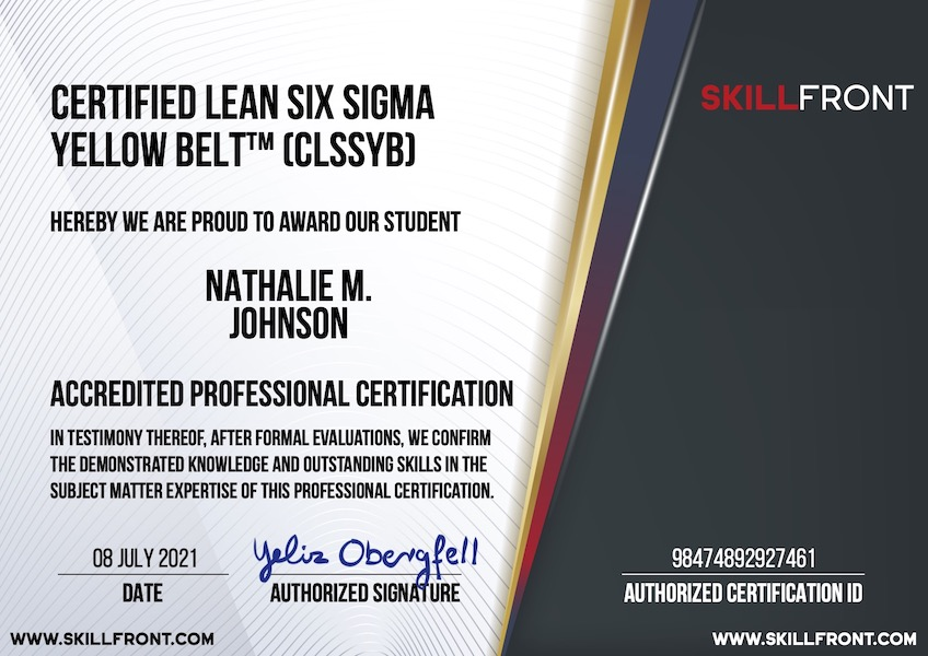 SkillFront Certified Lean Six Sigma Yellow Belt™ (CLSSYB™) Certification Document