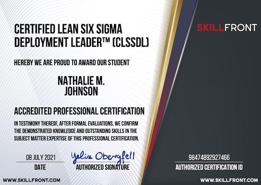SkillFront Certified Lean Six Sigma Deployment Leader™ (CLSSDL™) Certification Document