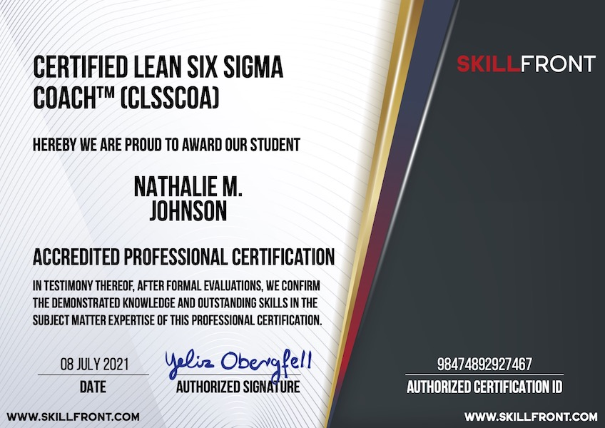 SkillFront Certified Lean Six Sigma Coach™ (CLSSCOA™) Certification Document