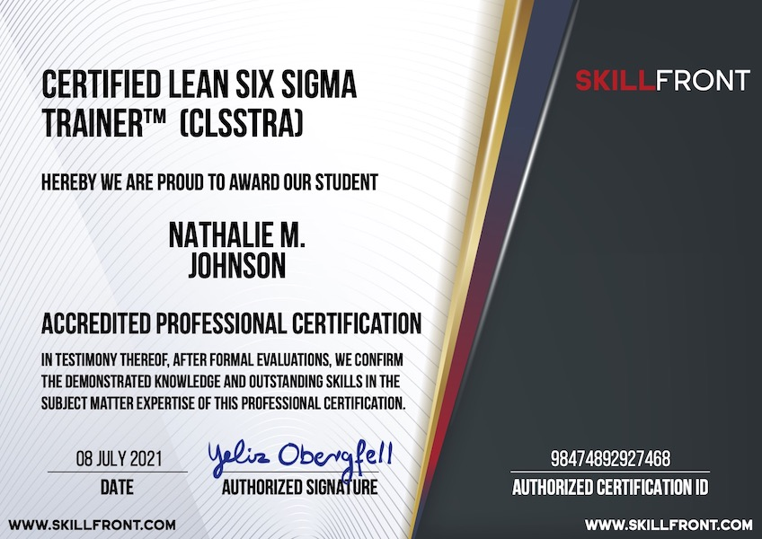 SkillFront Certified Lean Six Sigma Trainer™ (CLSSTRA™) Certification Document